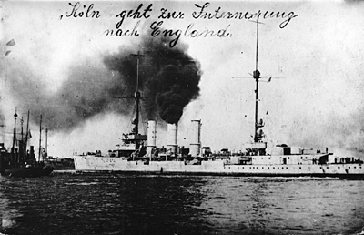 The SMS Cöln  before her scuttling
