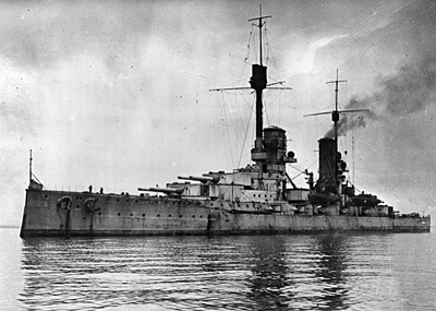 The SMS Kronprinz Wilhelm before her scuttling